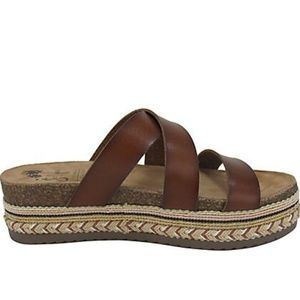 New Woven Platform Sandals Lanza Brown Smooth